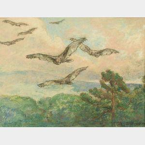 Walter Shirlaw (Scottish/American, 1838-1909)  Soaring Birds