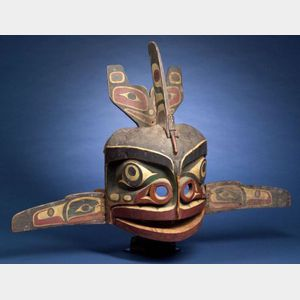Sold for: $88,125 - Northwest Coast Polychrome Carved Wood Mask