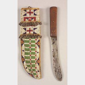 Central Plains Beaded Hide Knife Sheath and Knife