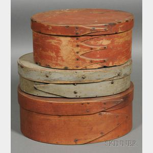 Three Painted Covered Oval Pantry Boxes