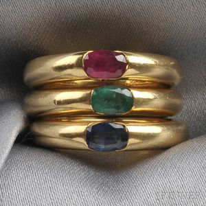 Three 18kt Gold Gem-set Rings, Cartier