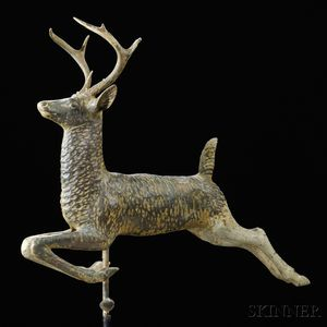 Molded Painted Copper Leaping Stag Weathervane