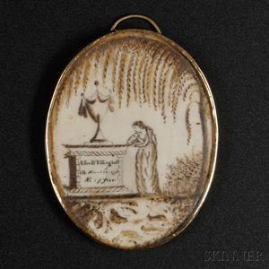 Painted Ivory Mourning Pendant