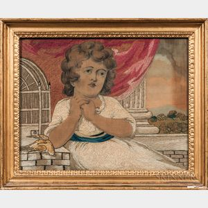 Needlework Picture of a Girl with a Dead Bird