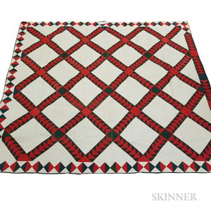 """Pieced and Appliqued Cotton """"Wild Goose Chase"""" Quilt"""