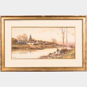 Walter Stuart Lloyd (British, 1845-1959)      Village Sunset