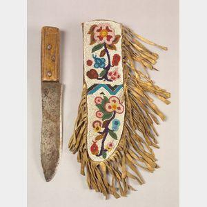 Northern Plains Beaded Hide Knife Sheath and Knife
