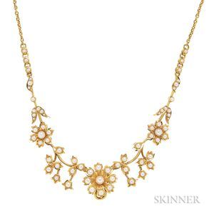 Antique 15kt Gold and Seed Pearl Necklace