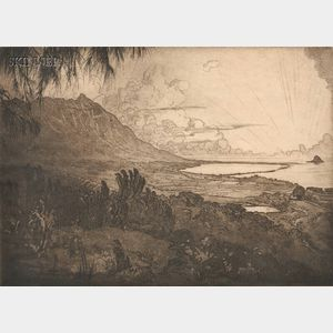 Huc-Mazelet Luquiens (American, 1881-1961)      Two Views of Hawaii: Sunset, Kualoa Point