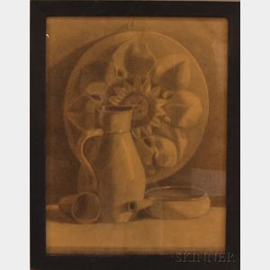 American School, 20th Century      Still Life with Pottery and Sunflower Plaque.