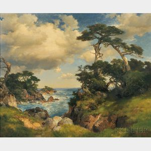 Sold for: $723,000 - Thomas Moran (American, 1837-1926)      Coast of Monterey