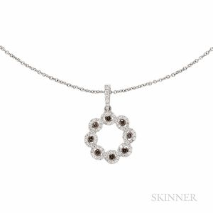 14kt White Gold, Colored Diamond, and Diamond Pendant