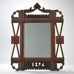 Carved and Pierced Tramp Art Mirror