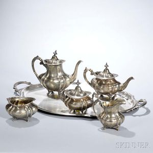"""Six-piece Reed & Barton """"Hampton Court"""" Pattern Sterling Silver Tea and Coffee Service"""