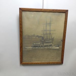 Framed Photograph of a Tugboat and a New Bedford Fifty Years Ago   Print