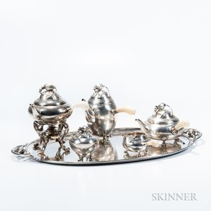 "Six-piece Georg Jensen ""Blossom"" Pattern Tea and Coffee Service"