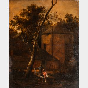 Dutch School, 17th Century Style      Landscape with House and Three Figures Including a Laundress Bending over a Dock