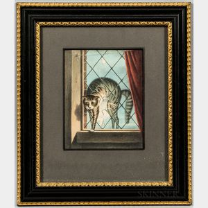 The Cat   Hand-colored Lithograph