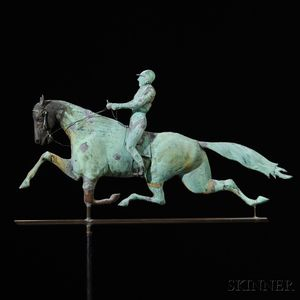 """Molded Copper and Cast Iron """"Dexter"""" Horse and Jockey Weathervane"""