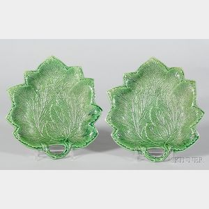 Pair of Staffordshire Green Glazed Leaf Dishes