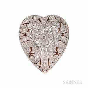 Diamond Heart Pendant/Brooch