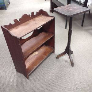 Country Three-tier Standing Shelf and a Primitive Candlestand