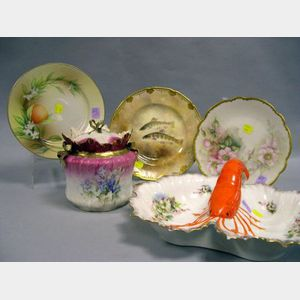 Five Decorated Porcelain Items
