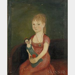 Attributed to Zedekiah Belknap (1781-1858)    Portrait of a Child Holding a Doll, 1807-1811.