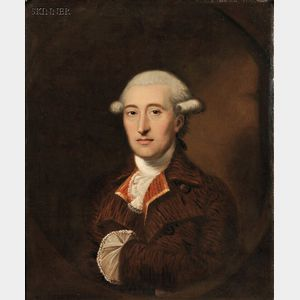 British School, 18th Century      Portrait of a Bewigged Gentleman in a White Lace Stock