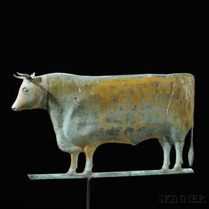 Yellow-painted Molded Copper and Cast Zinc Steer Weathervane