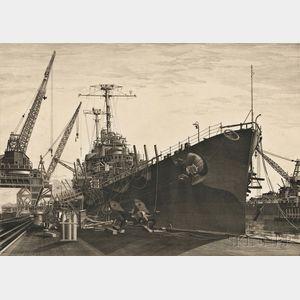 John Taylor Arms (American, 1887-1953)      U.S.S. Columbia under Construction at New York Shipbuilding Corporation, Camden