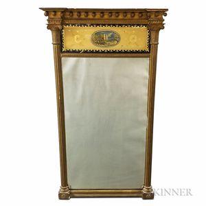 Federal Eglomise Tabernacle Mirror