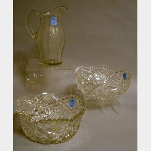 Tuthill Colorless Cut Glass Bowl and Pitcher, and a Hoare & Co. Colorless Cut Glass Bowl.