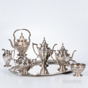 "Six-piece Gorham ""Maintenon"" Pattern Sterling Silver Tea and Coffee Service with an Associated Reed & Barton Sterling Silver Tray"