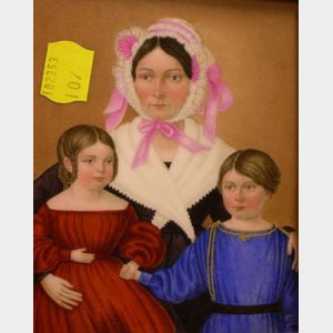Birds-eye Maple Veneer Framed Painted Portrait of a Mother and Two Children on Porcelain.