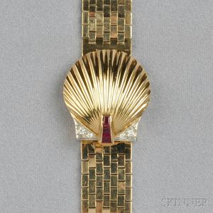 14kt Gold Covered Wristwatch, J. Schultz, Retailed by Cartier