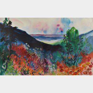 Gracia Dayton (American, 20th Century)      Landscape with Mountain