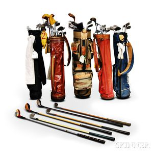 Group of Assorted Golf Clubs and Bags
