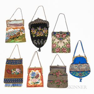 Seven Vintage Beaded Pictorial Purses