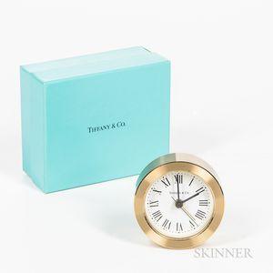 Boxed Tiffany & Co. Brass Alarm Clock.