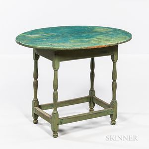 Green/blue-painted Oval-top Tea Table