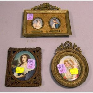 Four Cast Gilt-metal Framed Portrait Miniatures