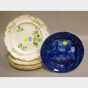 Set of Six Davenport Handpainted Floral Decorated Creamware Dinner Plates and a Wood   & Sons Blue and White Historical Plate