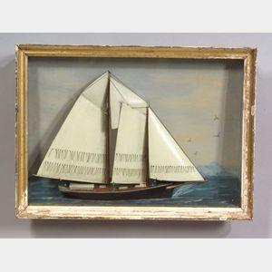 Painted Wooden Schooner Diorama