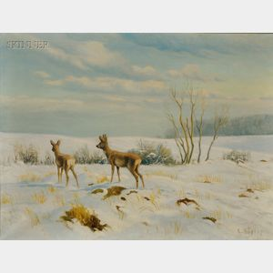 Carl Hoyrup (American, 1893-1961)      Doe and Fawn in a Winter Landscape