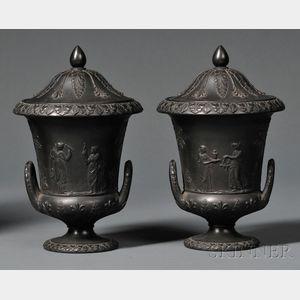 Pair of Wedgwood Black Basalt Vases and Covers