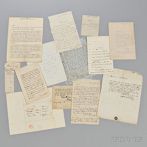 French Manuscript Material, Letters and Signatures, Approximately Twenty Pieces.