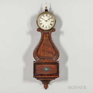 Inlaid Mahogany Lyre Clock