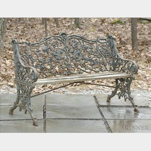 "Green Painted ""Rustic"" Pattern Cast Iron Seat"