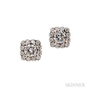 Platinum and Diamond Earclips